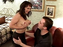 Siren massages her big boobs before she gets to suck a huge hard dick