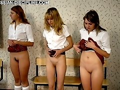 Russian schoolgirls brutally paddled on their naked asses