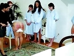 Cute assed teen receives humiliating enema and a bare bottom spanking