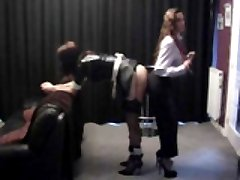 Jane spanks her maid and gets her big tits sucked