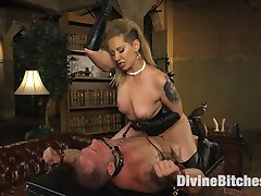 New slave, D. Arclyte, desperately wants to get past Maitresse Madeline's security, but only the luckiest of slaves get the password. Lucky for D. today he has guessed right and is catapulted into an erotic world of strict and sensual femdom, executed with precision and finesse by one of the top dominatrices in the entire world! Madeline puts him through his paces whipping him into submission while teasing him with her sexuality. He is tasered and prodded with electricity and made to beg for it deep in his ass. Something that he desperately loves. Madeline is an expert prostate milker and gave D. multiple orgasms by pressing all the right buttons in his ass. She then rides his dick like there is no tomorrow, using him as a human dildo and getting all the pleasure she deserves, stealing his cum from his cock then spitting it back in his face!