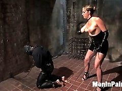 When the need for a house gimp came up, I looked to Miss Delilah Strong to train one.  She is a very tough and experienced player, and she recently starting domming for the company.