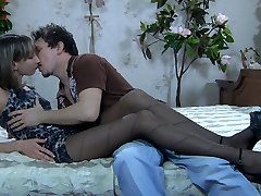 Dressed to kill babe drilled thru her fashion pantyhose after some oral fun