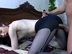 Long-legged beauty getting groped and licked in her barely visible stocking