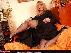 Angel in black sheer stockings and evenig sundress