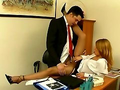When secretary in tan hose aching for boner, she finds her way with boss