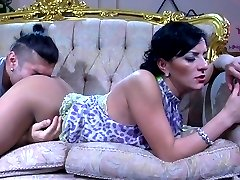 Smoking lady gets her pantyhosed muff licked and tongue fucked by her lover