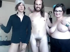 Straight and gay and chubby gal make super-naughty threesome online