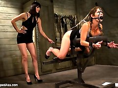 Last month Bobbi Starr was on the bottom but this month Bobbi gets her revenge on another one of our favorite dominatrices, Felony! Felony's intense reactions and fierce orgasms are brought on by heavy flogging, wicked caning, tough bondage, hard spanking, and deep intense strap-on fucking in all her holes. Felony can't help but squirt over and over as Bobbi expertly rips orgasm after orgasm out of her cunt. Felony's feisty attitude shows when she doesn't get her way. Don't worry Felony, we know you're one tough dominatrix bitch but damn do we love seeing you broken down like a common whore!