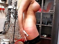 No mercy for busty blonde