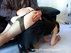 Misbehaving housewife bent over the chair and caned hard on her full ripe ass - severe strokes