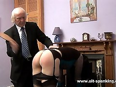 Raven haired beauty spanked hard otk with sexy little knickers pulled down - hot burning cheeks