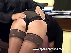 Lovely office girls stripped naked and bent over for leg spread bare assed punishments