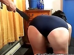 Very cute girl gets paddled hard