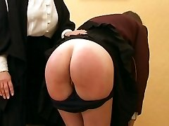 Miserable school lady smacked otk with her navy blue knickers at half mast