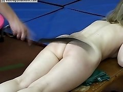 Two naked sweeties caned during exercises in the gym - severe stripes and scars