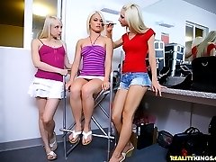 3 beautiful hot mini skirt teen lesbians fuck eachother backstage on their modeling photo shoot...