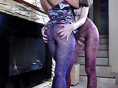 Dressy lez girls in colored flower pattern hose get to raunchy tongue jobs
