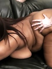 Luscious black fattie gets her deep wet holes pounded by her own golf coach