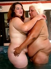 Lard ass ladies fool around in the hot tub