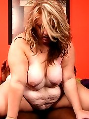 BBW Dani flaunts her huge fat ass and goes down on her knees to cram a big black dick in her...