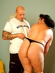 Curvy BBW Belane seduces her guy with her thongs getting him to fuck her hardcore