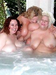Three huge breasted BBW housewives