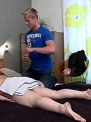 The masseur shows up, puts a towel on her ass, and rubs her before they get into hardcore sex