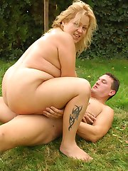 Blonde bbw Helga gets on top and rides out a huge dick in this hardcore outdoor fucking