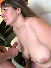 The aroused Bbw gets romped at the party and then he shoots his cum on her big natural bra-stuffers