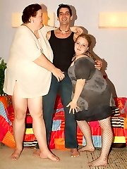 Anna Marie and Agnes Eva are fat vixens taking turns in riding a penis in the living apartment