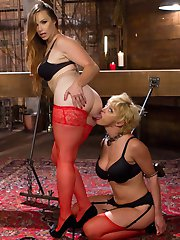 Bella and Darlings mistress leaves them alone in her dungeon, shackled and bound together with a...