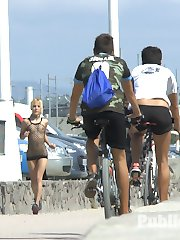 Chiki Dulce is a disgusting exhibitionist that needs to be objectified. Running down the beach...