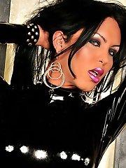 Latex clad shemale hotties striptease