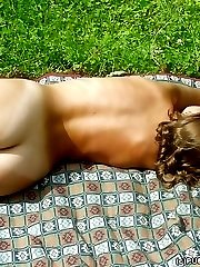 Sexy blonde babe nude outdoor