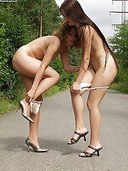 posing and flashing girls outdoor