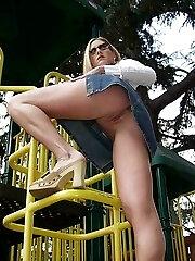 Not so shy Zoey spreding her rosy in the park