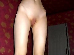 Shy skinny Asian chick displays shaved pussy