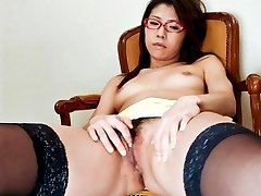 Mizuki Ogawa Asian with stockings and specs is fondled all over