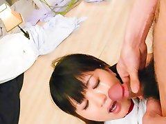 Ryo Asaka Asian has cum on face after sucking and licking dongs