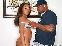 Stunning black chick gets a thick black dick up her cooter