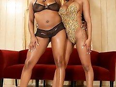 Black lesbos display off their hot bodies
