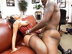 Black bitch Tia Cherry gets banged by Lex Steele's throbbing black cock
