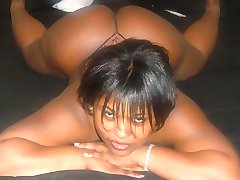Black girlfriends show their tits and pussies
