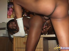 Romatic ebony babe gets round ass smashed by a fat penis