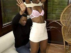 ebony babe sucking a big black cock in sofa