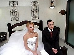 Naughty shemale bride spicing up the wedding shoving her cock in the ass
