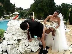 Hot shemale bride listening at her double nature fucking with guy outdoors