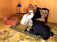 Lascivious shemale bride having rocky-hard pole for her fiancé to suck on