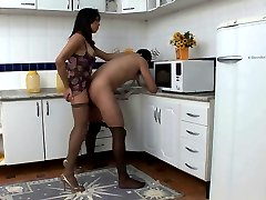 Naughty shemale in classy tights having fucking lunch break in the kitchen